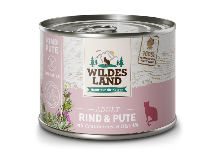 Wildes Land - Rind & Pute für Katzen gegart 6 x 200g