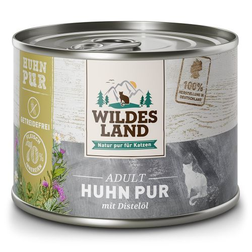 Huhn PUR von Wildes Land für Katzen 6x200g